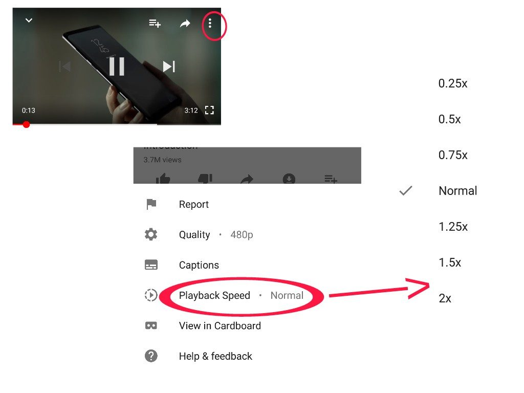 how to change playback speed in youtube