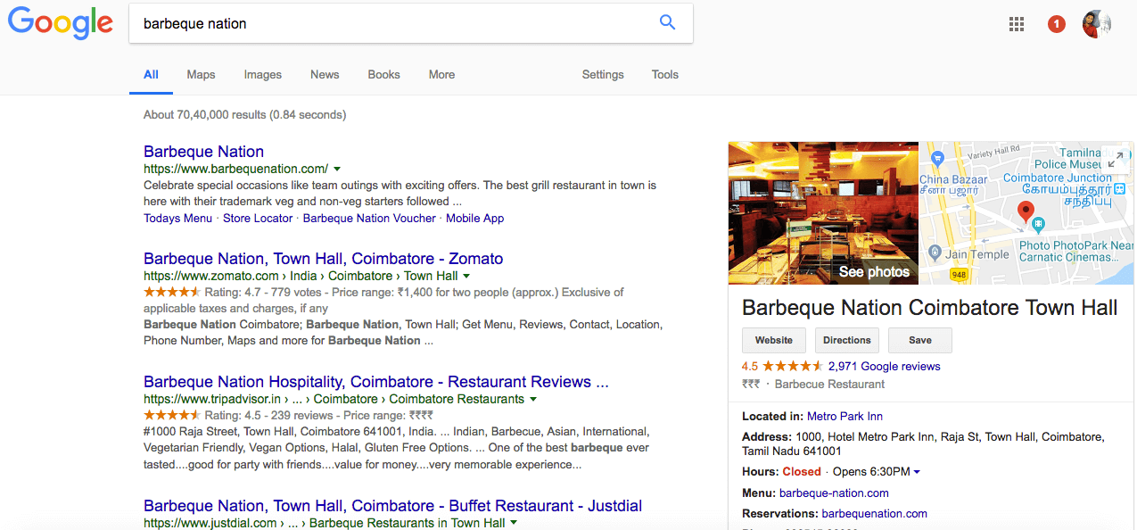 Google my business lisiting for restauarants