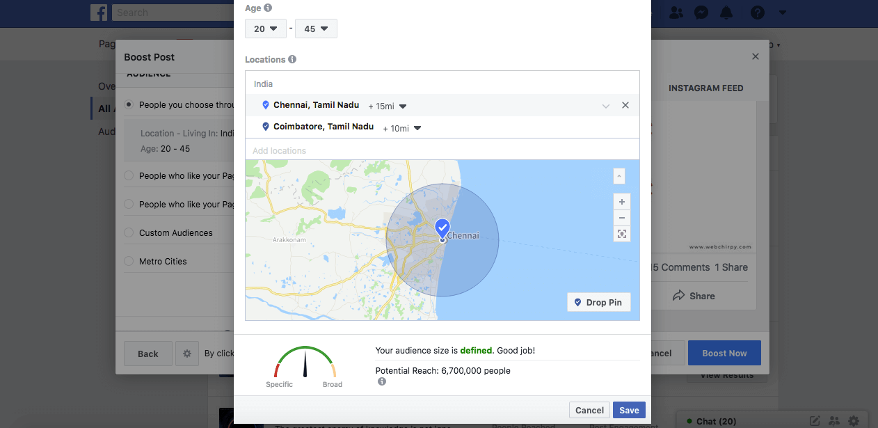 Geo targeting ads in fb for restaurants