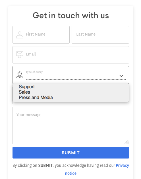 contact form with type select
