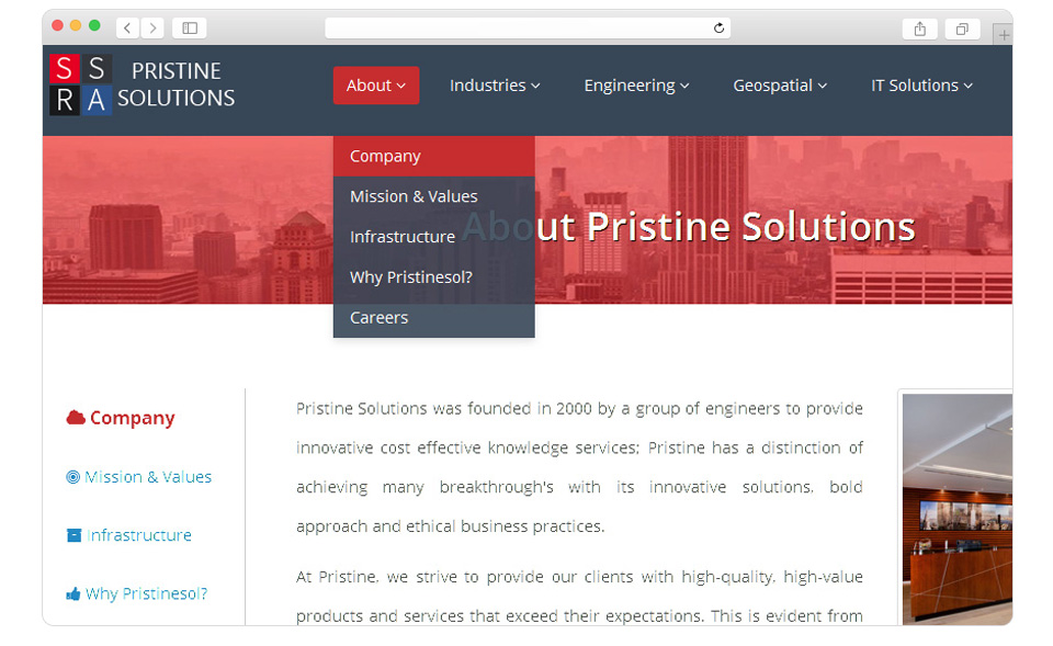 Website design for Pristine-2