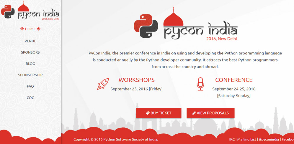 UI, UX and Website Design for Pycon 2016